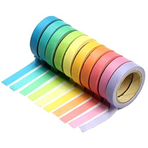 Kentop Washi Tape Banda Decorativa Candy Color Masking Tape Cinta Adhesiva para Scrapbook DIY Pegatinas Decoración , 10Rollos