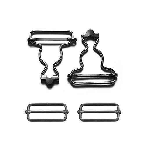 Trimming Shop Set of 35mm 2 Silver Brace Buckles Fasteners for Overalls and Pinafore Dresses Dungaree Clips with Rectangle Buckle for Suspenders and Straps