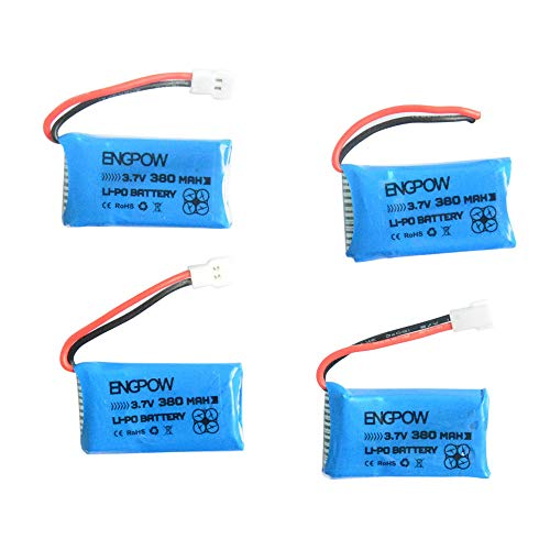 Caricabatterie + 4 batterie Lipo 3.7V 380mAh 25C per Hubsan X4 H107D H107C BC512