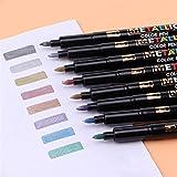 8PCS Metalli Color Pen Art Art Marker Play Play Plan Marca DE PAPELÍDO DE PAPELÍDO Estudiante Oficina DE Estudiante Suministros Escolares Suministros de caligrafía