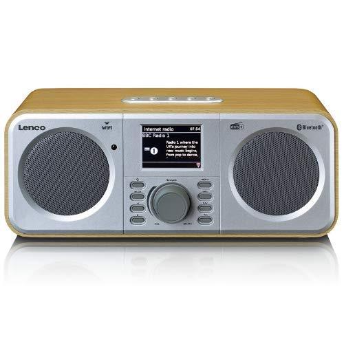 Lenco DIR-140 internetradio met W-LAN - digitale radio met Bluetooth en Wi-Fi - DAB+ FM-radio - 2,4 inch kleurendisplay - AUX - wekfunctie - bediening via app via Undok - 2 x 3 Watt RMS - hout