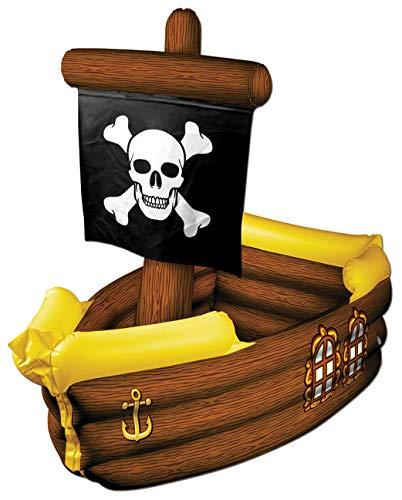Beistle Aufblasbarer Piratenschiff-Kühler, 91 cm breit, 7,6 cm hoch, mehrfarbig