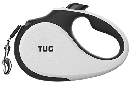 TUG Patented 360° Tangle-Free, Heavy Duty Retractable Dog Leash for Up to 110 lb Dogs; 16 ft Strong Nylon Tape/Ribbon; One-Handed Brake, Pause, Lock (Large, White)