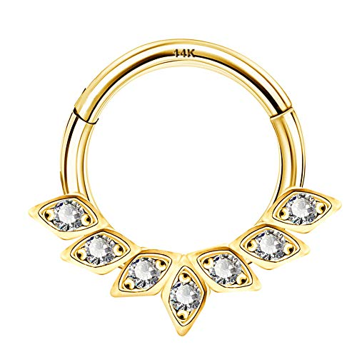OUFRE Body Piercing 14K Solid Gold Helix Earring Hoop Clear CZ Daith Piercing Jewellery Daith Earrings Hinged Segment Clicker Ring gold