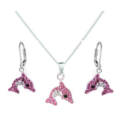FIVE-D Anhänger mit Kette Kinder Ohrringe Kristall Delfin 925 Sterling Silber
