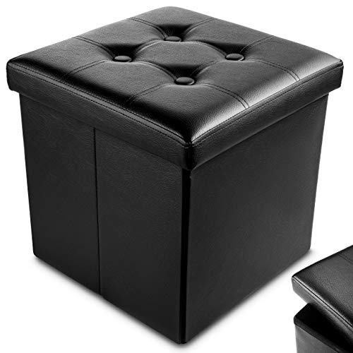 Nyxi Faux Leather 38 * 38 * 38cm Black Ottoman Foldable Storage Boxes Seat Foot Stool Storage Box with Lids for Kids Toys, Bedroom, Hallway, Living Room