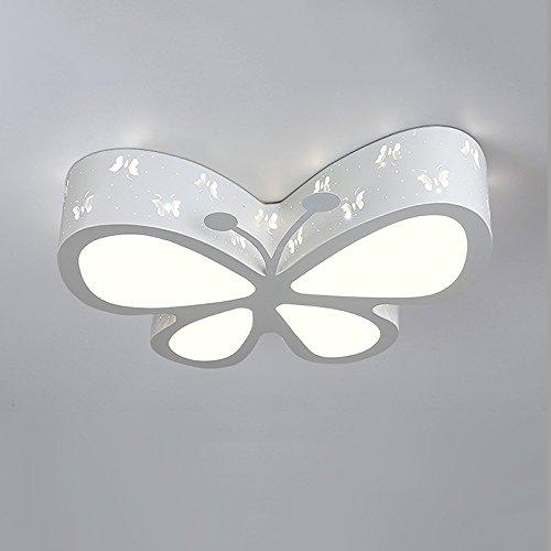 Économie d'énergie Iron Butterfly Europe moderne forgé LED acrylique Lumière de plafond, Salon enfants Chambre à coucher Éclairage de plafond décoratif (Color : White)