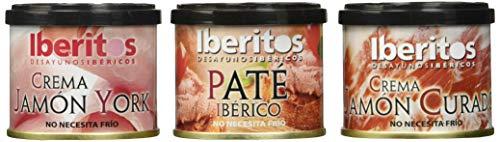 Iberitos Surtido Patés (Paté Ibérico, Crema de Jamón y Crema de York) Están buenísimos, me encantan, a parte de que, para ser una crema de untar, apenas tiene calorías. No llega cada paté, ni a 20 cent. merece la pena totalmente