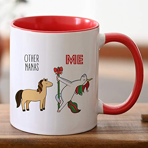 DKISEE Taza de té con diseño de Nana Christmas Nana, Nana, Secret Santa, Merry Christmas Nana, borde rojo, mango rojo para abuela.
