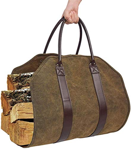 Log Carrier, Canvas Firewood Bag with Leather Handles, Firewood Holder,...