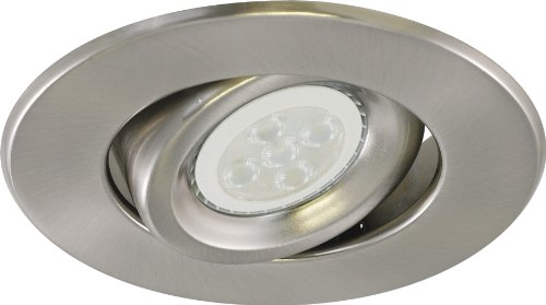 Liteline RC40118R3-LED-EW-BN All-in-One 4-inch LED Recessed Combo with New Construction Housing, 6W LED PAR16 lamp, Gimbal Trim, Brushed Nickel