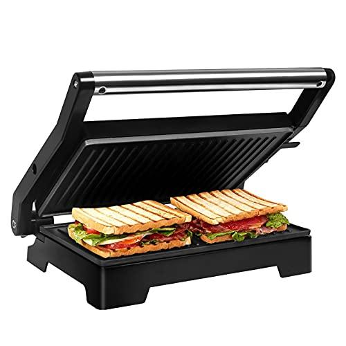 Gotoll Tostiera,Tostapane Piastra 1000W,Panini/Sandwich Maker/Griglia,Piastre con Rivestimento Antiaderente,Bistecchiera Apertura a 180°