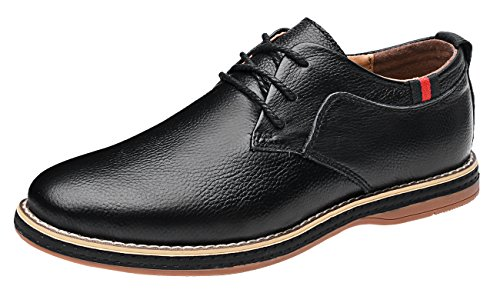 Mohem Darren Men's Premium Genuine Leather Lace-up Oxfords Shoes(1687008Black42)