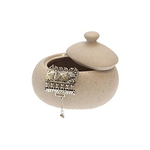 FRANDIS 190749 Pot à Coton céramique Cailloux Beige