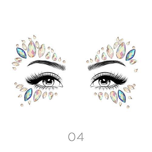 (STYLE 04) - Glamza Face Crystal Sticker 6 Gems Set Women Mermaid Rave Festival Glitter Rhinestone Temporary Tattoo Face Jewels Face Sticker Eyebrow F