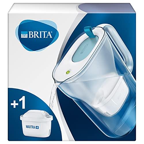 BRITA Style - Jarra de Agua Filtrada con 1 cartucho MAXTRA+ - Filtro de agua BRITA que reduce la cal y el cloro - Agua filtrada para un sabor excelente - Tapa del filtro color azul
