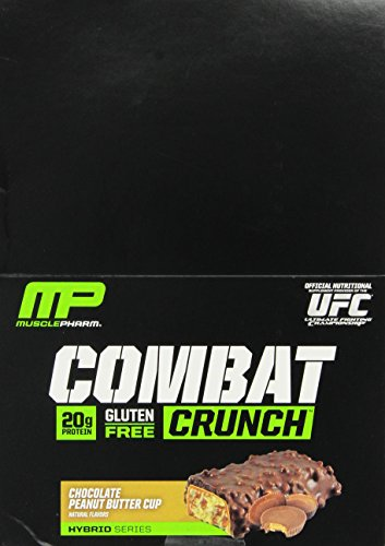 MusclePharm Combat Crunch Protein Bar, Multi-Layered Baked Bar, Gluten-Free Bars, 20 g Protein, Low-Sugar, Low-Carb, Gluten-F   ree, Chocolate Peanut Butter Cup Bars, 12 Servings