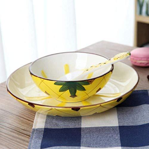 Teller Teller Teller Abendessen Kreatives Keramikgeschirr Set Japanischer Obstteller Dessertschale Reisschale Dreiteilige Obstschale Erdbeerschüssel Löffel, Ananas