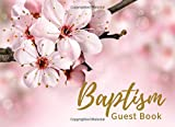 Baptism Guest Book: Baptism, Naming Ceremony, Dedication Party Guestbook Message & Memory Book (8.25' x 6') Blank Pages Medium Large Size Pink Flower ... Journal Notebook Scrapbook Gift Log