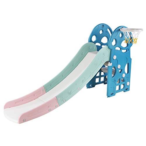 Bamny Scivolo per Bambini Scivolo Divertente con Cestino da Basket e Basket, Scivolo per Bambini (Fino a 25 kg) (Blu)