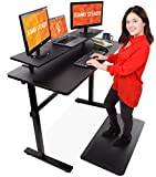 Stand Steady Tranzendesk 55 Inch Standing Desk with 48 Inch Clamp On Shelf – Easy Crank Stand Up Desk and Attachable Monitor Riser Stand (55 Inch Desk with 48 Inch Clamp On Shelf)