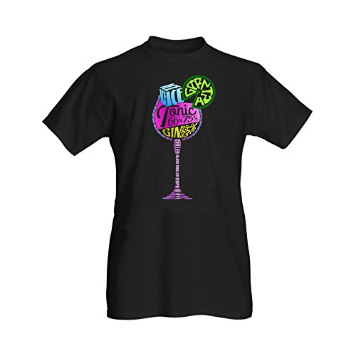 Ginsanity The Gin Collective: Ladies Gin Black T-Shirts (Gin 25% / Tonic 75%) - Small