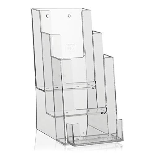 Soporte para Flyer en formato DIN largo (DL) 1/3 A4 vertical con 3 pisos y soporte extra para tarjetas de visita.