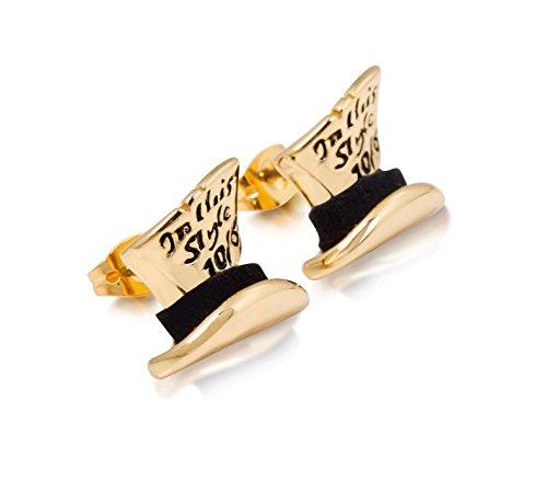 Disney Couture Kingdom Pendientes chapados en oro con diseño de Alicia en el País de las Maravillas