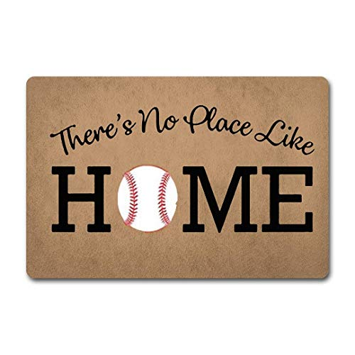 AGHRFH ZQH WelcomeDoor Mats There's No Place Like Home Doormat Baseball Door Rugs Home Plate Door Mats (23.6 X 15.7 in) Non-Woven Fabric Top with a Anti-Slip Rubber Back Door Rugs Hello Doormat