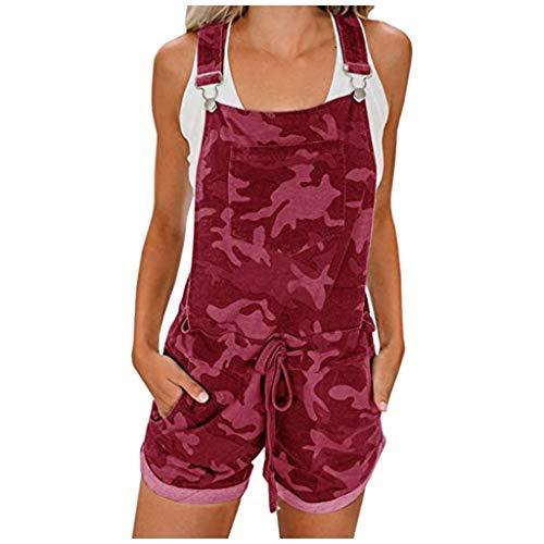 Dosoop Women's Summer Elastic Waist Camos Overall Jumpsuit Tie Front Flap Loose Pocket Short Cuffed Bib Girls Romper
