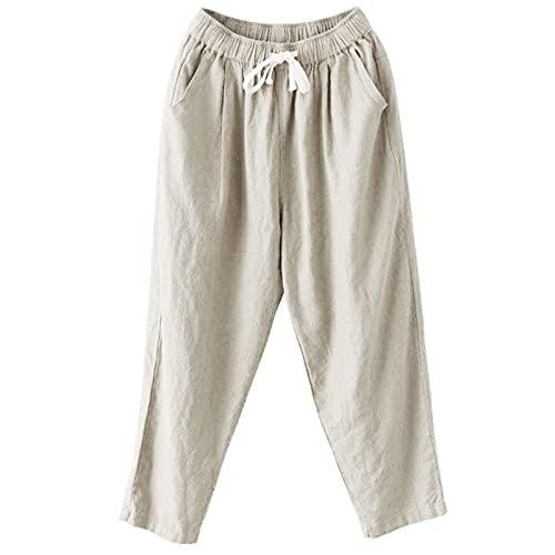HFStorry Damen Einfarbige Baumwoll-Leinenhose Für Damen Mit Elastischer Taille Die Beiläufige Neun-Punkte-Hose All-Match-Haremshosen Abnimmt