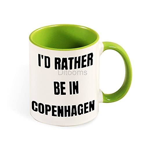 Copenaghen, tazza bicolore in ceramica, stile verde, 3 tazze divertenti regalo di compleanno per figlia, figlio, mamma, papà, 325 ml