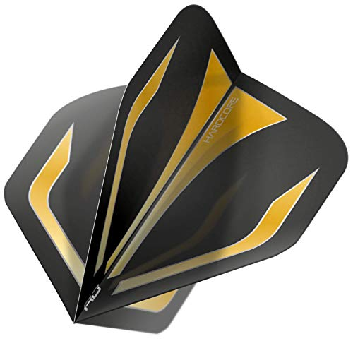 RED DRAGON Hardcore XT Schwarz and Gold Extra Dicke Standard Dart Flights - 5 Sätze pro Packung (15 Dart Flights insgesamt)