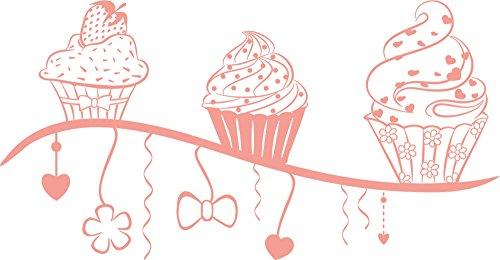 GRAZDesign Sprücheküche Wandtattoo Cupcake - Wandgestaltung Küche Gebäck - Wandtattoo Küche Erdbeere / 58x30cm / 819 Dalhia pink