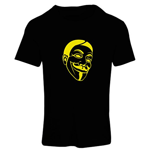 lepni.me T-Shirt Femme Combattants de la liberté anonymes, V pour Vendetta, Masque de Guy Fawkes (Small Noir Jaune)
