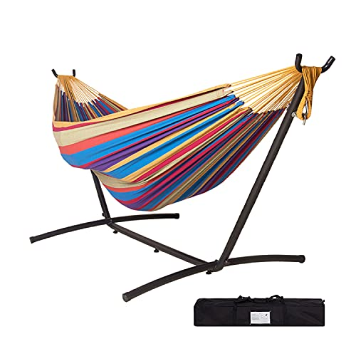 Tuanchuanrp Hammock with Stand, Adjustable Portable Hammock Stand Heavy Duty, Double Hammock with Space Saving Steel Stand for Indoor Outdoor Yard Patio Deck,with Carry Bag,Rainbow