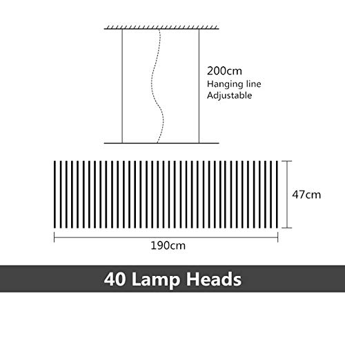 QPLNTCQ LED LOFT Piano Wave-LED Pendelleuchten Bambus Form Rippen Dimming Jahrgang Licht In Led Restaurant Büro-Kunst-Lampe (Body Color : 40 Heads 190x47cm, Size : Remote)