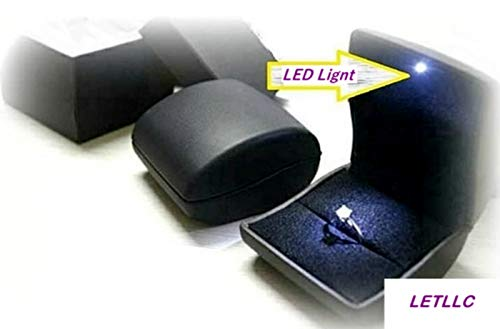LilyTreacy PU Leather LED lighted ring box earring case Proposal Engagement Gift