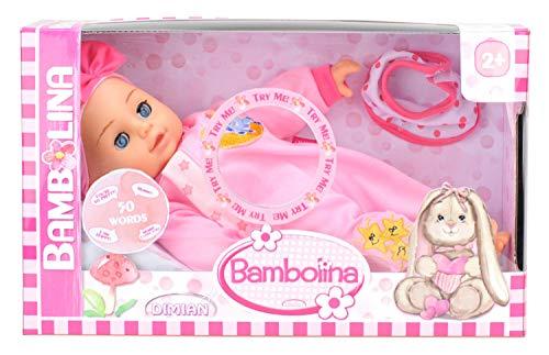 Dimian 81806 BD348D - Puppe Bambolina, spricht 50 Wörter in Deutsch, inklusive Lätzchen, ca. 34 cm