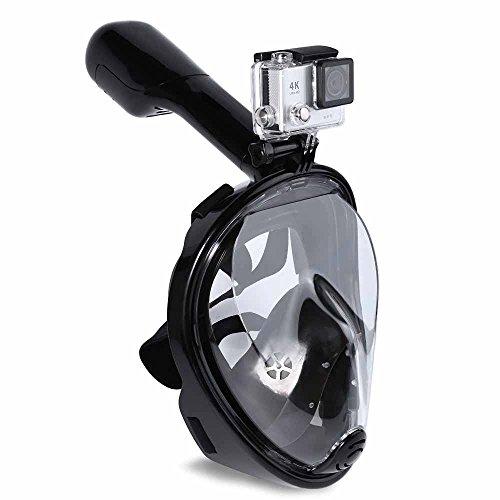 Tauchmaske, JINGOU 180 Grad Blickfeld Schnorchelmaske Vollgesichts Atmung Design,mit Anti-Fog und Anti-Leck-Technologie für Erwachsene und Kinder (schwarz L/XL)