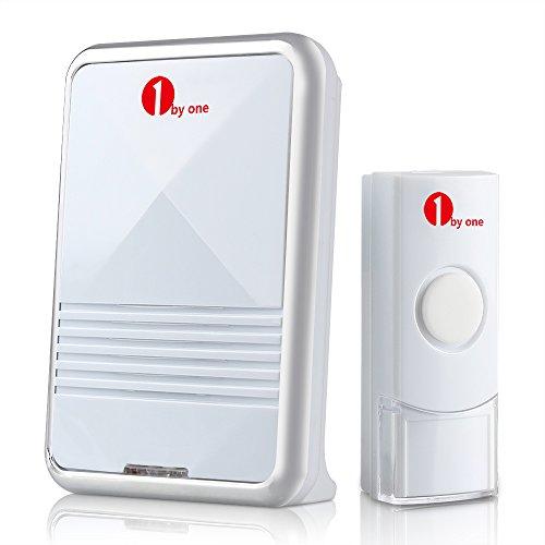 1byone Timbre inalámbrico portátil, 1 receptor & 1 pulsador con rango de 100 metros, Indicador de LED, y 36 melodías para elegir, Blanco