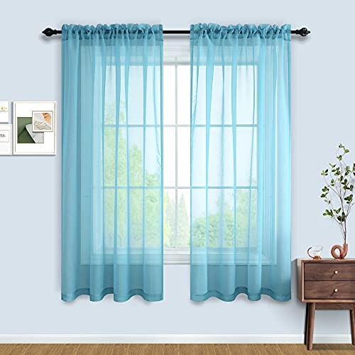 Blue Sheer Curtains 63 Inch Length for Boys Room 2 Panels Set Rod Pocket Window Sheer Light Blue Curtains for Bedroom Kids Playroom 52x63 Inches Long