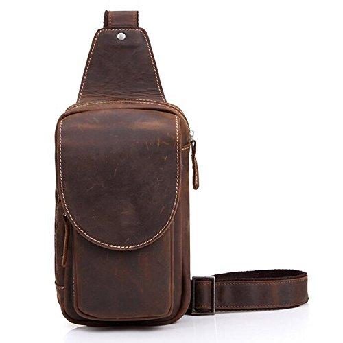 En cuir de vache véritable Pour Homme Bandoulière poitrine sac à dos sac à bandoulière sac à bandoulière pour voyage randonnée Cyclisme bicyling Camping