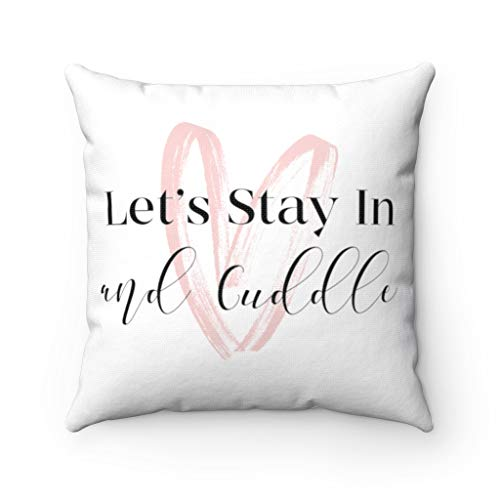 Promini Lets Cuddle Pillow Cover, Cute Couple Pillow Case, Throw Pillow Covers Case Cushion Pillowcase with Hidden Zipper Closure For Sofa Bench Bed Home Decor 16 x 16 Inches