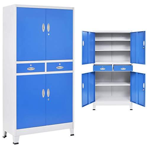 Tidyard Büroschrank mit 4 Türen Metall 90 x 40 x 180 cm Grau und Blau Metall Aktenschrank...