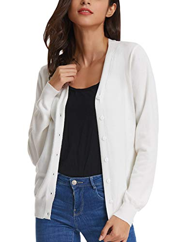 GRACE KARIN Long Sleeve V-Neck Button Down Stretch White Knit Cardigan Sweater (M,White)