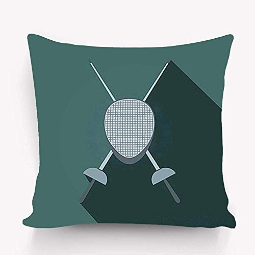 Kissen Stilvolle Schicke Kissenbezüge Mit Reißverschluss 45X45CM Fechten Schwerter Helmmaske Flaches Symbol Graues Tergru
