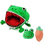 Delphinus Cute Frog Coin Wallet, Plush Frog Coin Purse Cosplay Naruto Cute Green Frog Coin Bag Frog Coin Wallets Frog Coin Purse with Cute Hairpin, 3 Pack