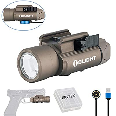OLIGHT PL-PRO Valkyrie 1500 Lumens Cree XHP 35 HI NW LED Magnetic Rechargeable Weaponlight with Glock and 1913 Rail Adapter, Built-in Battery and SKYBEN Battery Case