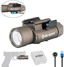 OLIGHT PL-PRO Valkyrie 1500 Lumens Cree XHP 35 HI NW LED Magnetic Rechargeable Weaponlight with Glock and 1913 Rail Adapter, Built-in Battery and SKYBEN Battery Case (Desert Tan)